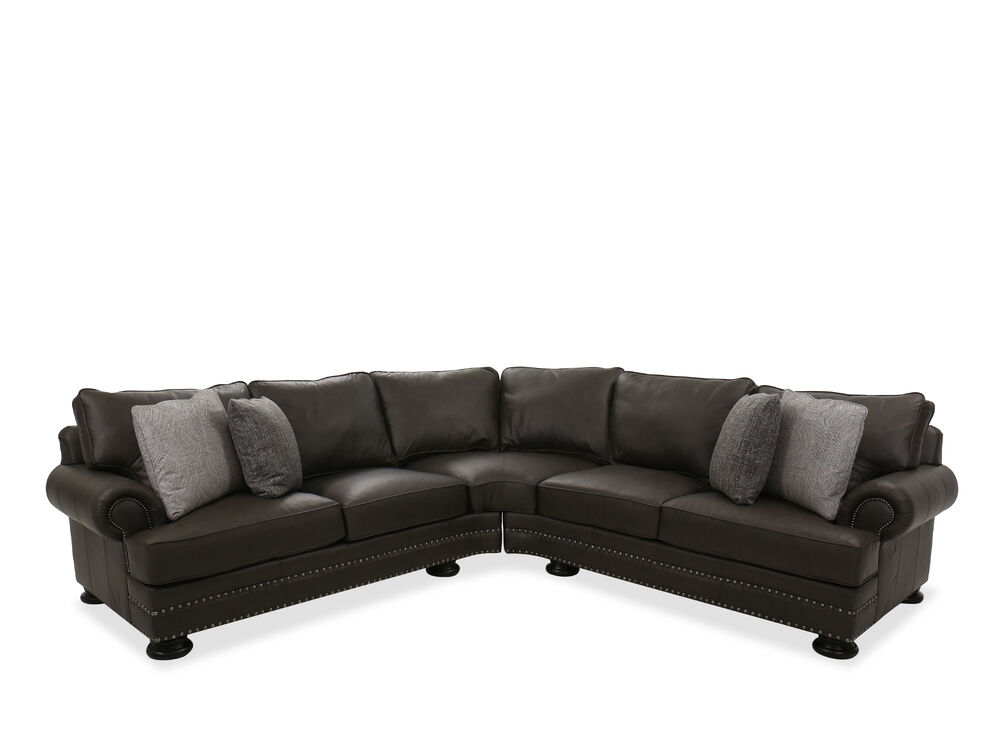 Nailhead Accented Leather Sectional