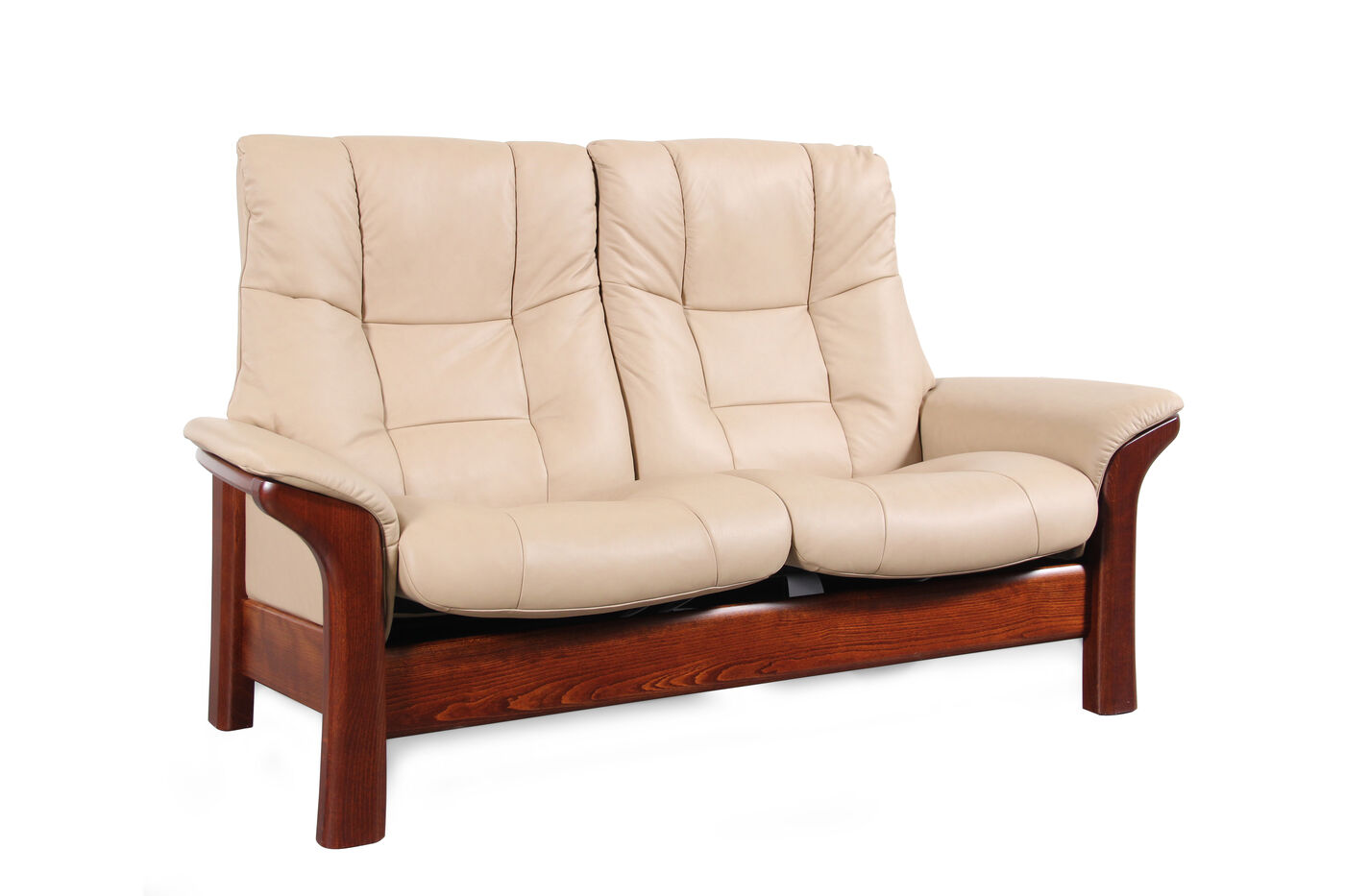 Contemporary leather 65 loveseat in almond mathis for Furniture 65