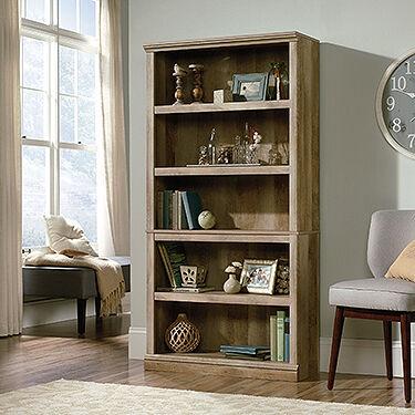 Contemporary Adjustable Shelf Open Bookcase In Lintel Oak ...