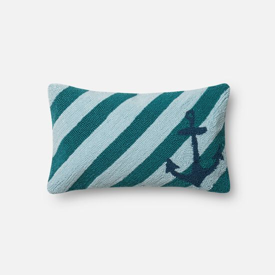 "Indoor/Outdoor 13""x21"" Pillow Cover Only in Teal/Multi"