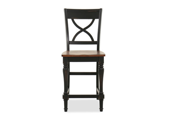 "Traditional 42"" X-Back Bar Stool in Brown"