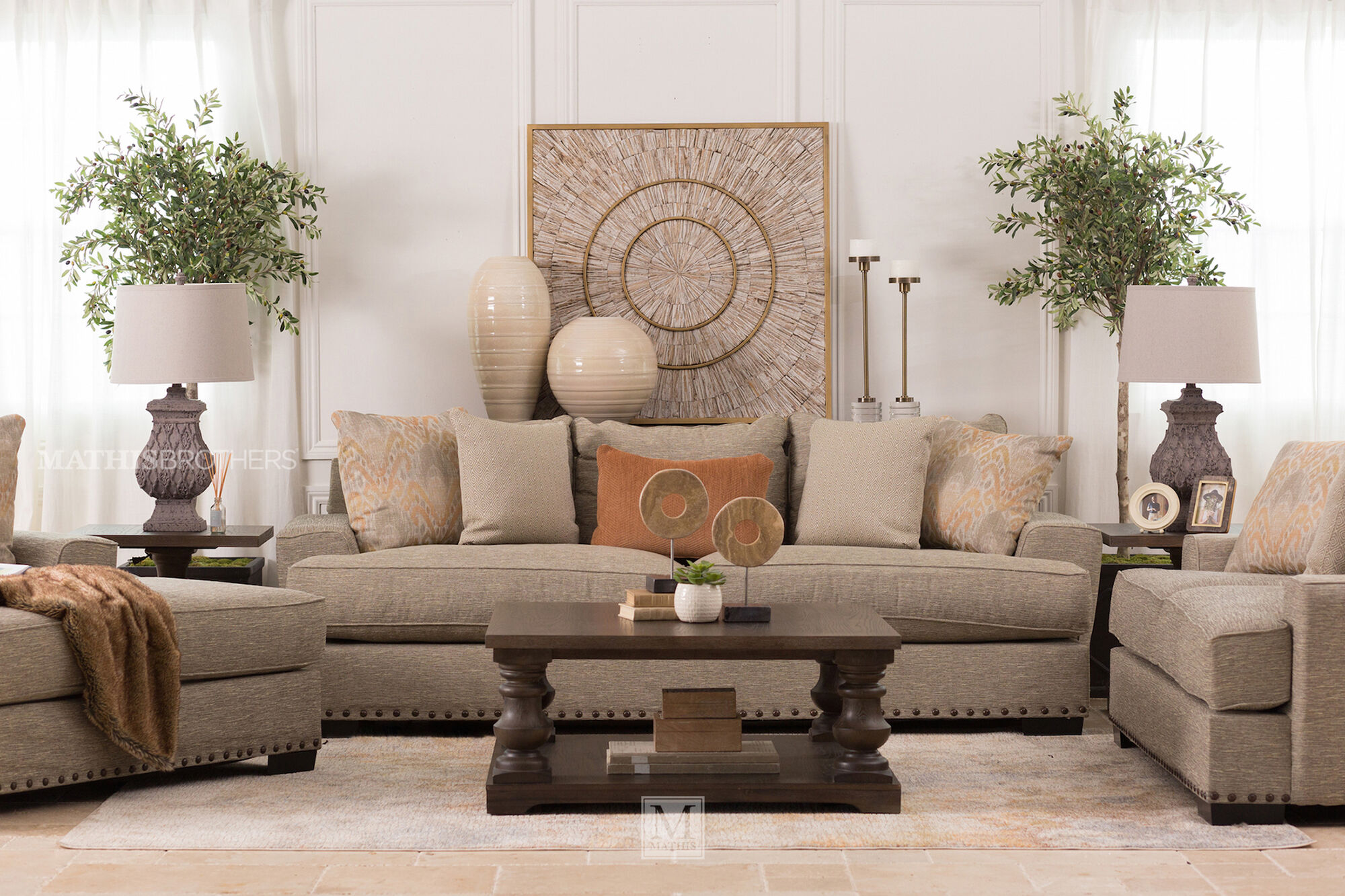 Nailhead Trim Casual Ottoman In Brown Mathis Brothers