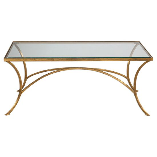 Arched Base Glass Top Coffee Table in Antique Gold