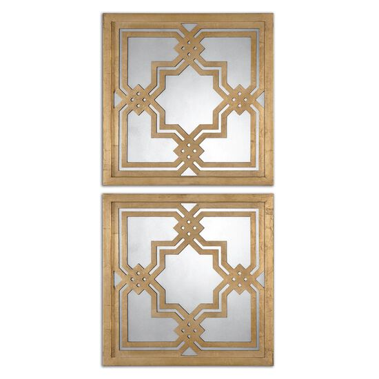 """Two-Piece 20"""" Geometric Accent Mirrors in Gold Leaf"""