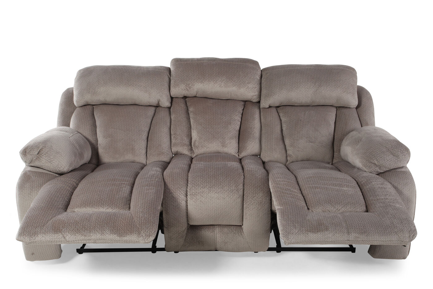 microfiber 88 reclining sofa in pebble mathis brothers furniture. Black Bedroom Furniture Sets. Home Design Ideas
