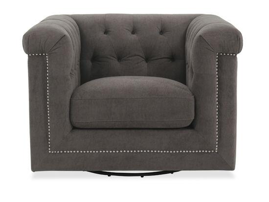 Chesterfield Swivel Chair in Gray Velvet