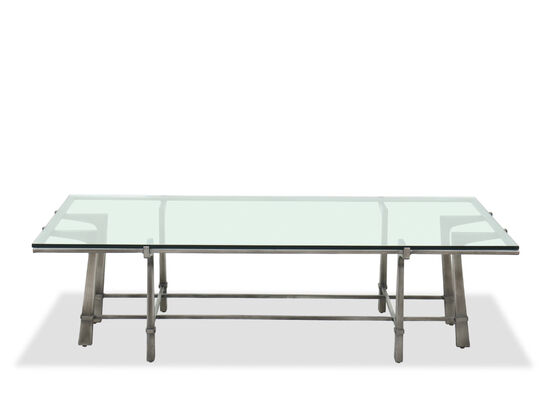 """60"""" Rectangular Glass Top Cocktail Table in Silver"""