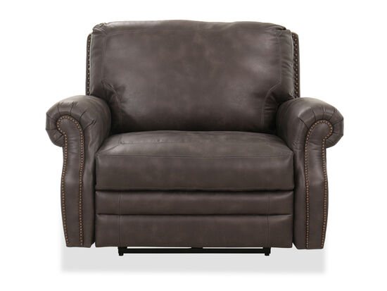 Casual Nailhead-Accented Reclining Cuddler in Brown