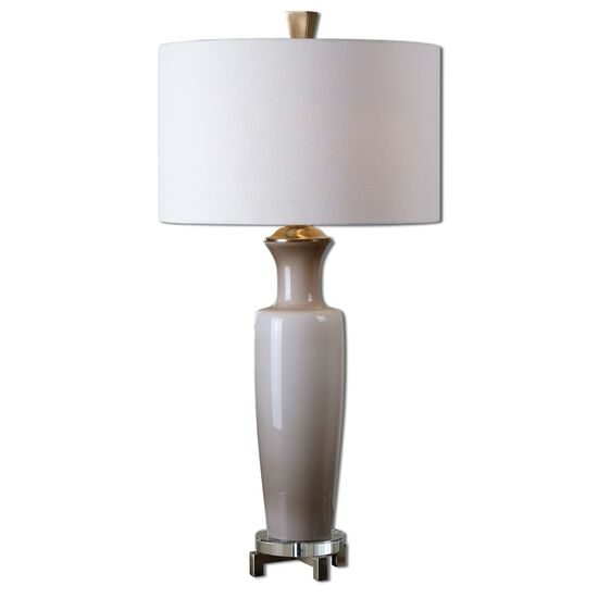 Round Shade Glass Table Lamp in Taupe Gray