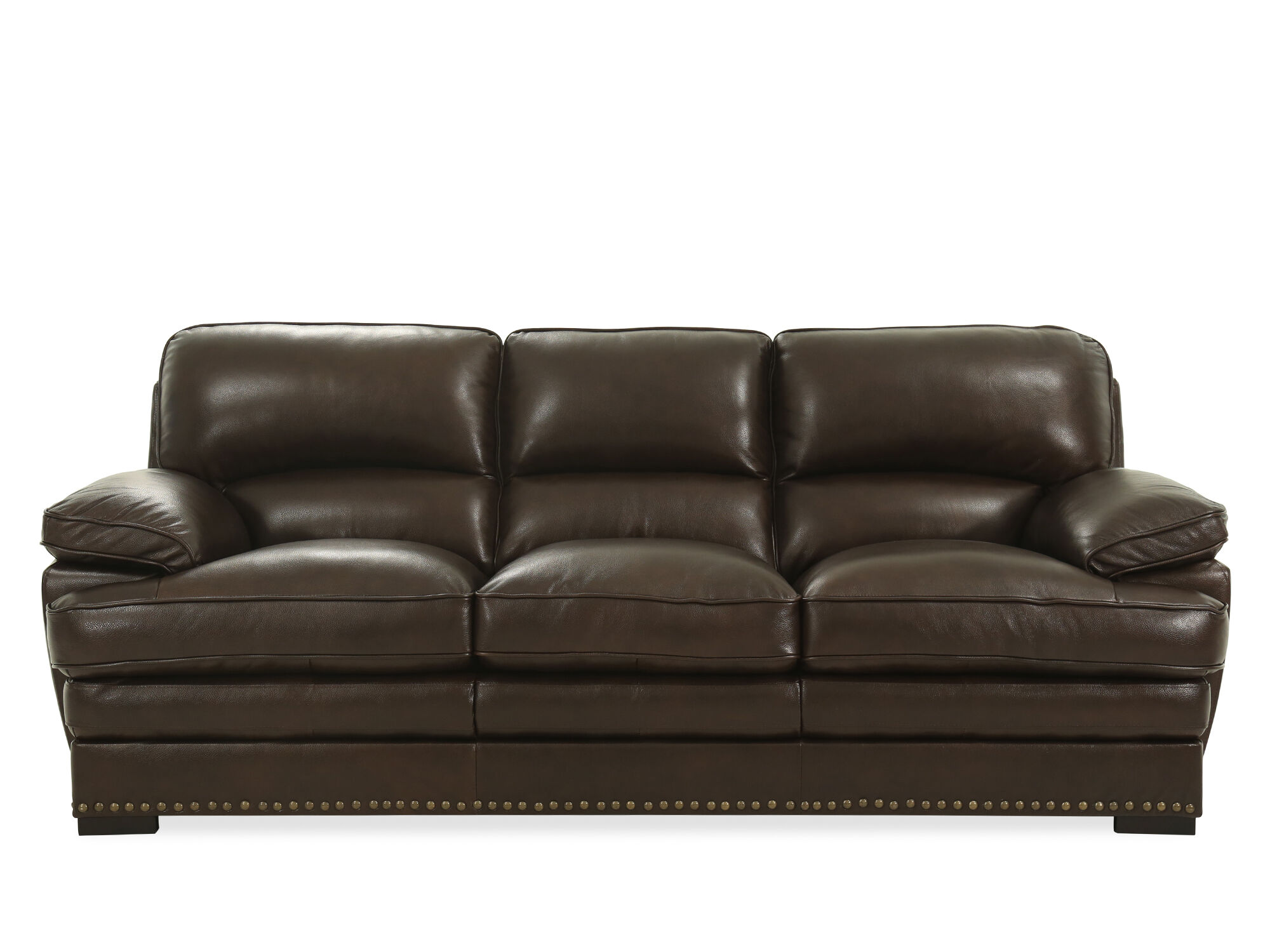 Beau Images Nailhead Accented 93u0026quot; Leather Sofa ...