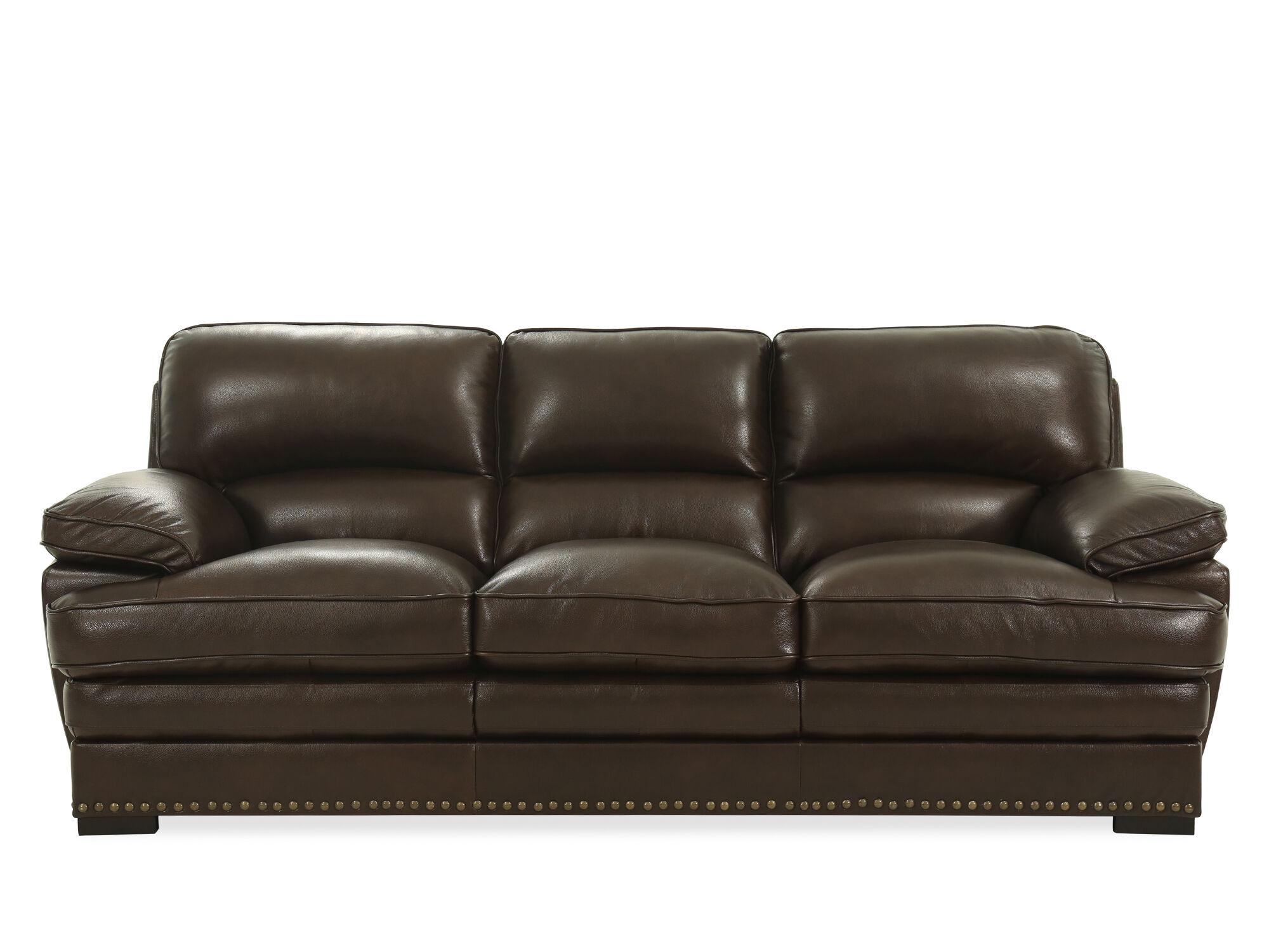 Nailhead Accented 93u0026quot; Leather Sofa ...
