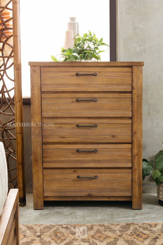 "50"" Industrial Five-Drawer Chest in Weathered Brown"