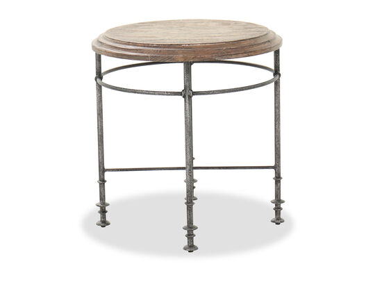 """24"""" Traditional End Table in Brown/Gunmetal"""