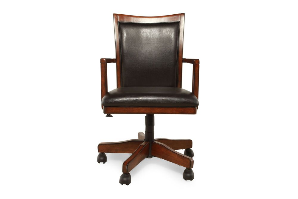 Casters Leather Swivel Office Chair in Medium Brown ...