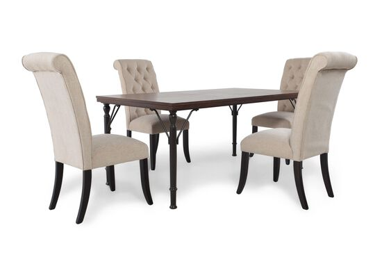 Five-Piece Diamond Button-Tufted Transitional Dining Set in Cream