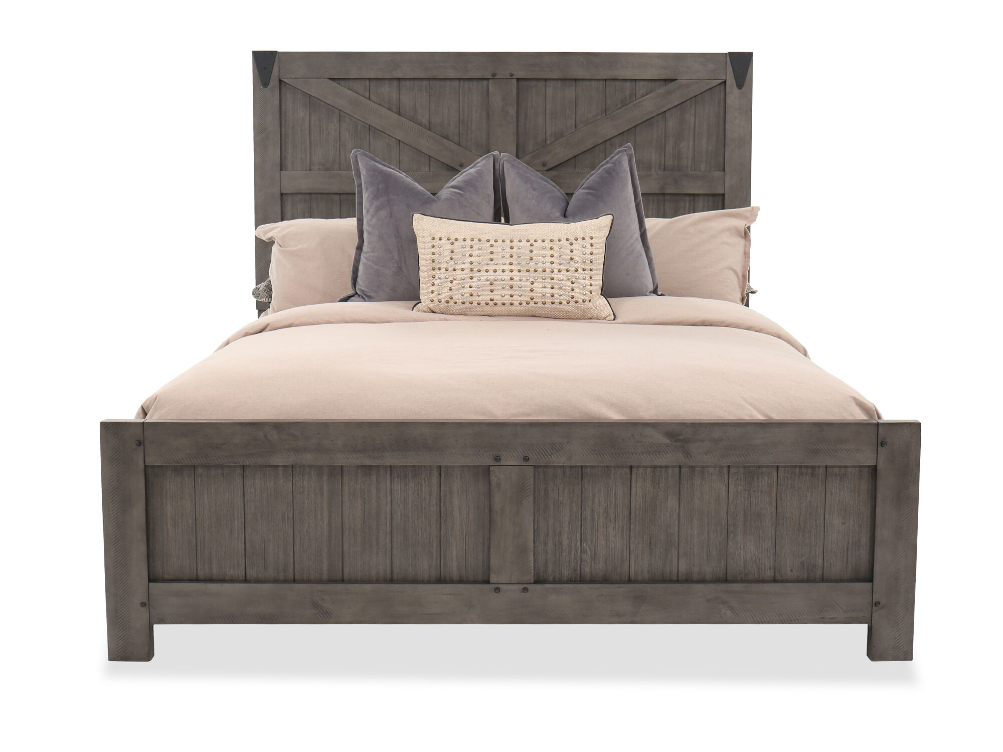 Rustic Farmhouse Panel Bed In French Gray Mathis
