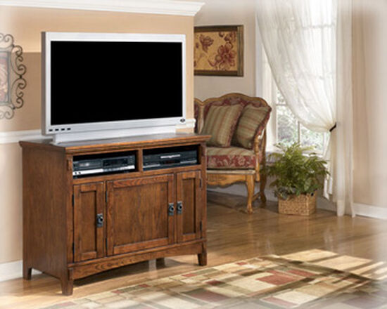 Mission-Style Casual TV Stand in Medium Brown Oak