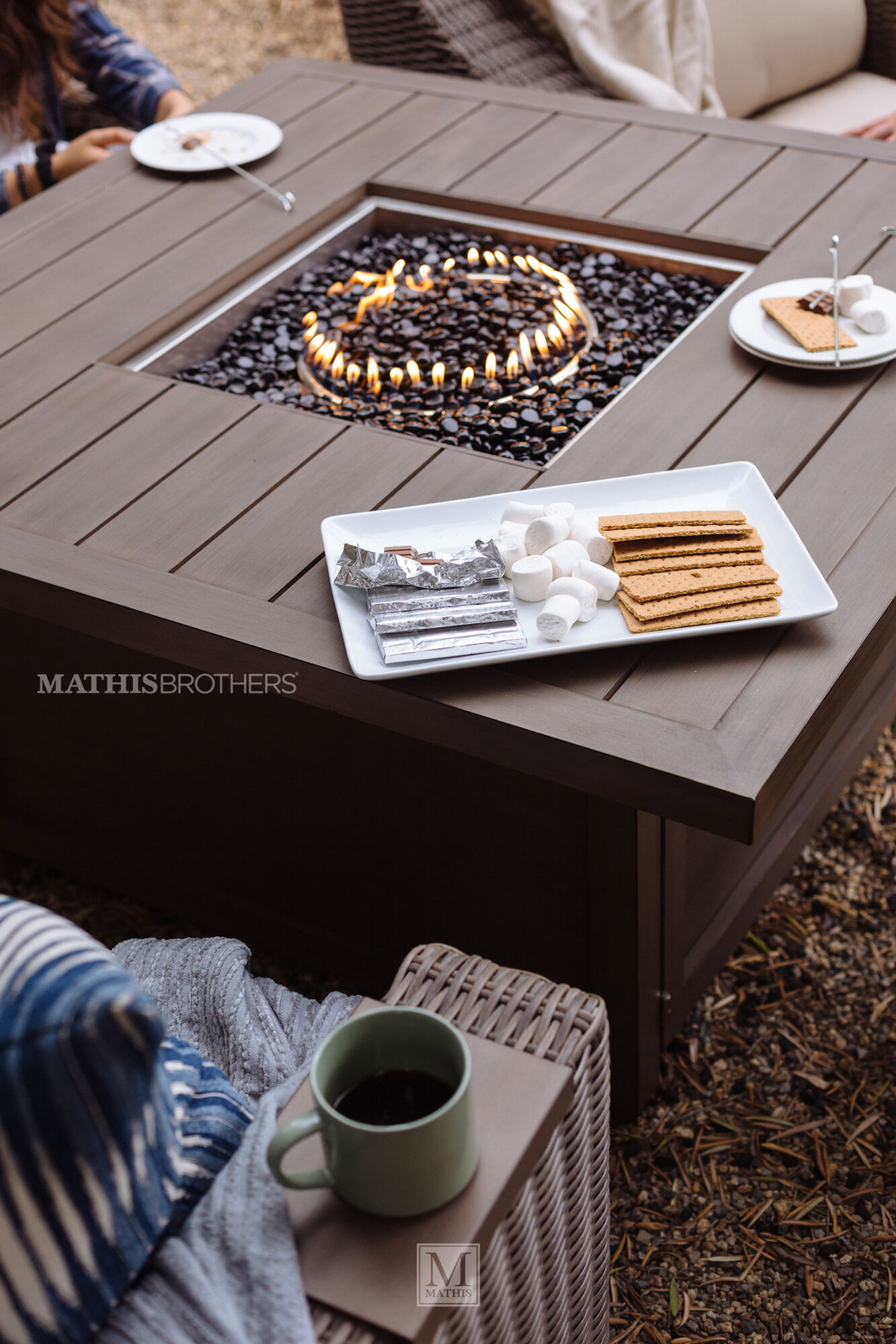 Square Aluminum Fire Pit Table In Aged Teak Mathis Brothers Furniture