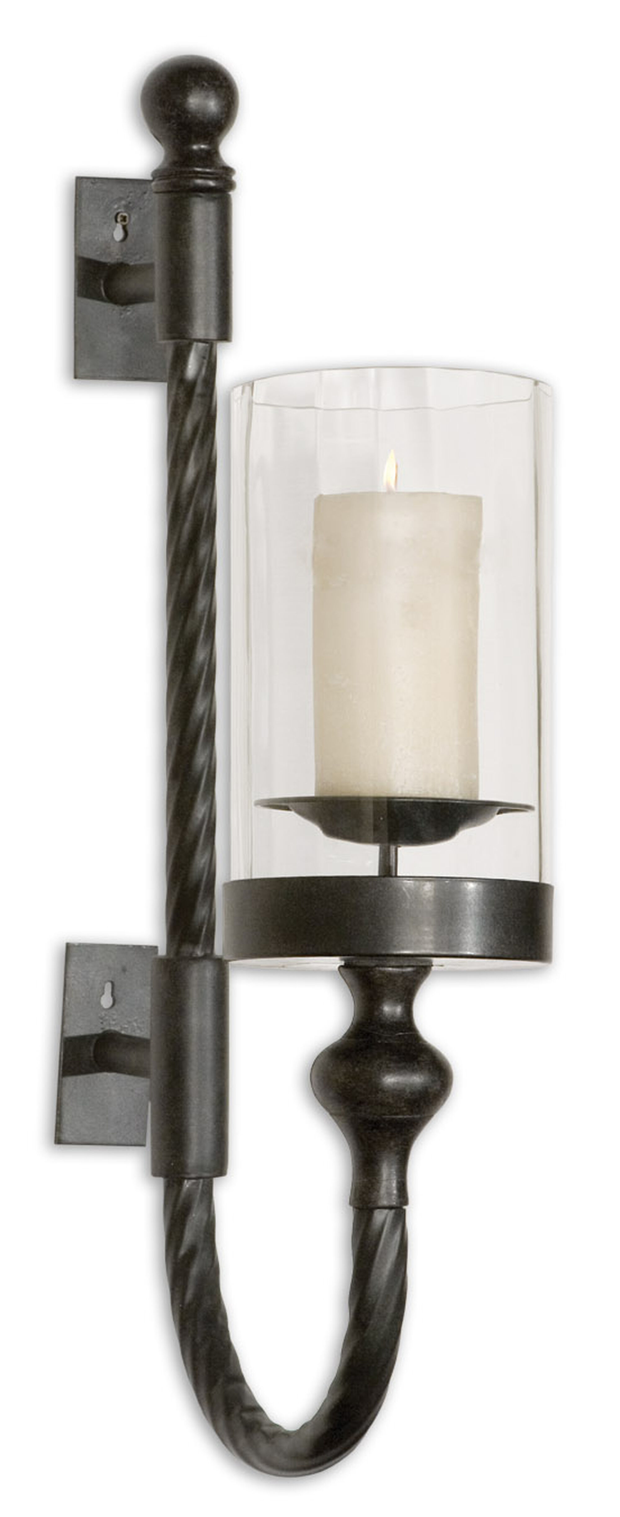 mirror designs for bathrooms twist candle wall sconce in aged black mathis brothers 19476