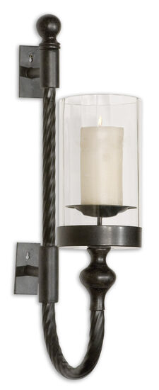 Twist Candle Wall Sconce in Aged Black