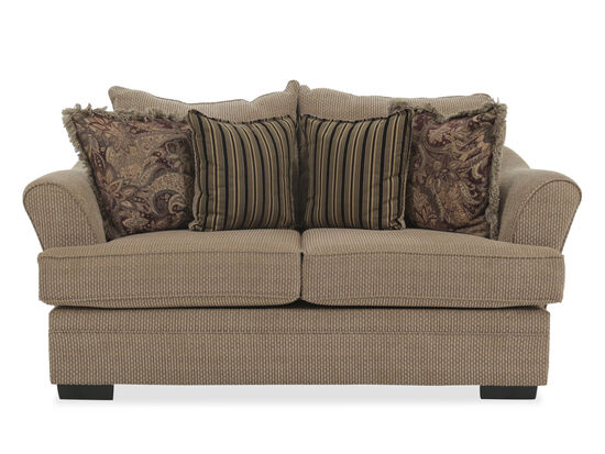 "Textured Traditional 75"" Loveseat in Nutmeg Brown"