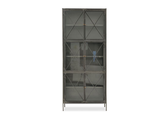 X-Accented Industrial Display Cabinet in Black
