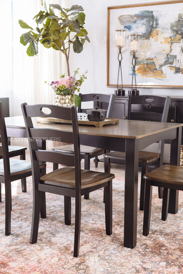 Seven-Piece Cottage Dining Set in Dark Brown
