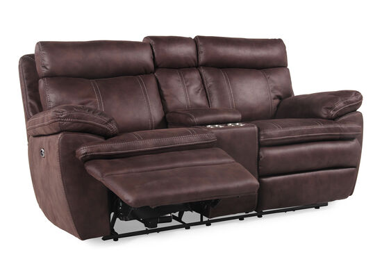 """Power Reclining Microfiber 77"""" Loveseat with Console in Dark Brown"""