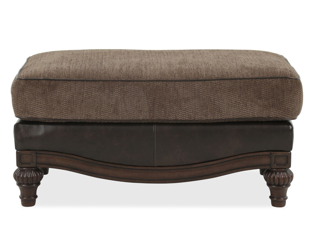 """Striped Traditional 40"""" Ottoman in Brown"""