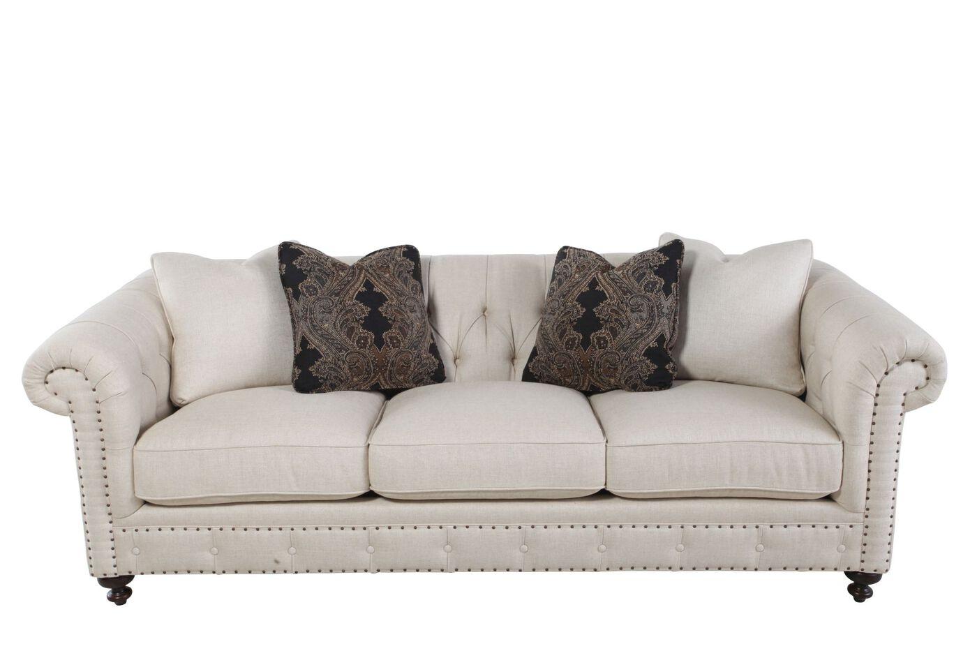 European Classic Button Tufted Sofa In Cream Mathis