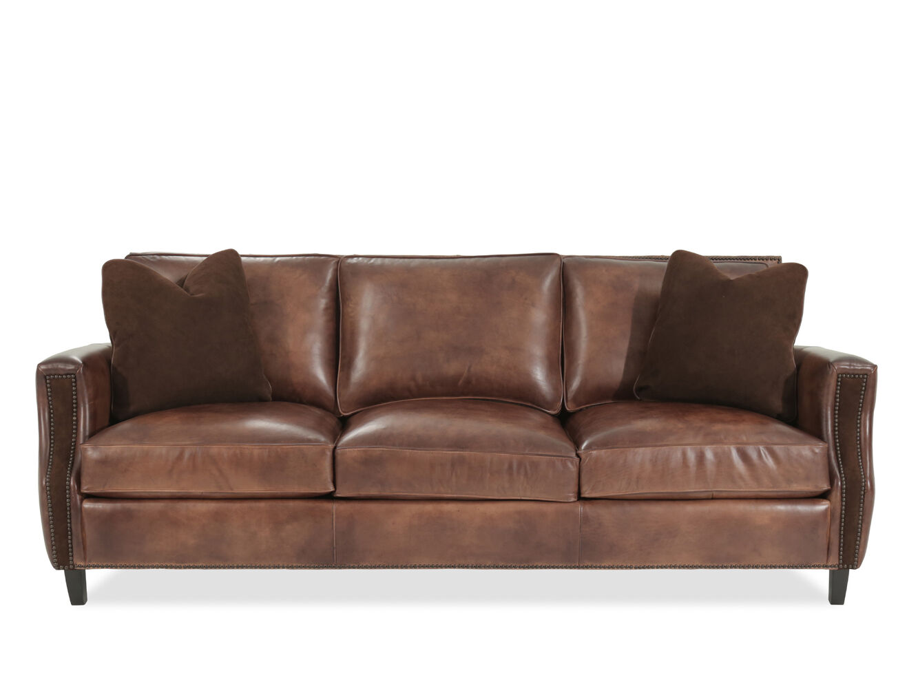 Nailhead accented 89 leather sofa in brown mathis for Where to buy bernhardt furniture online