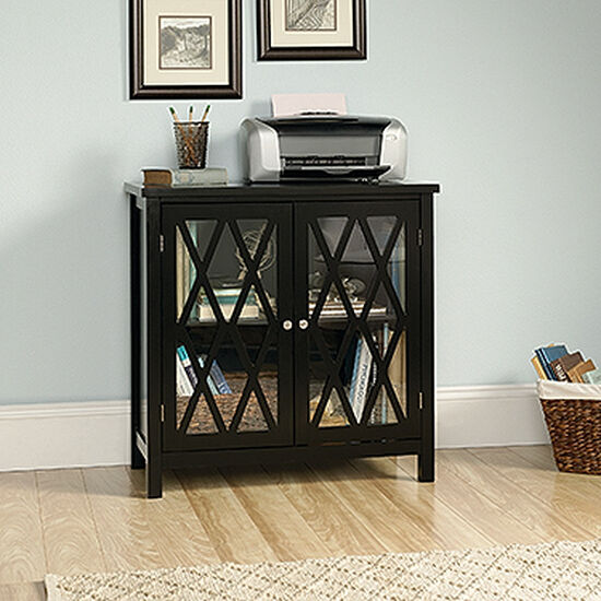 31.5'' Two-Door Contemporary Accent Storage Cabinet in Black