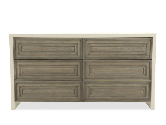 """38"""" Casual Six-Drawer Dresser in Gray"""
