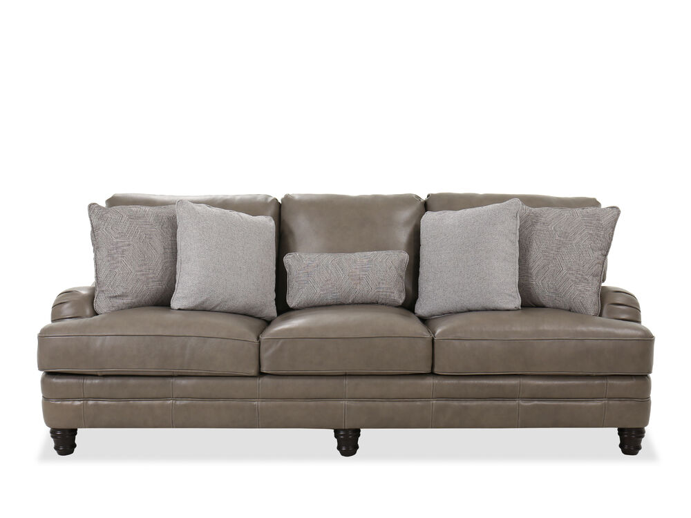 Leather Sofa In Grey Mathis Brothers