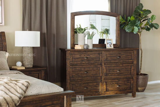 Two-Piece Weathered Solid Pine Dresser and Mirror in Dark Brown