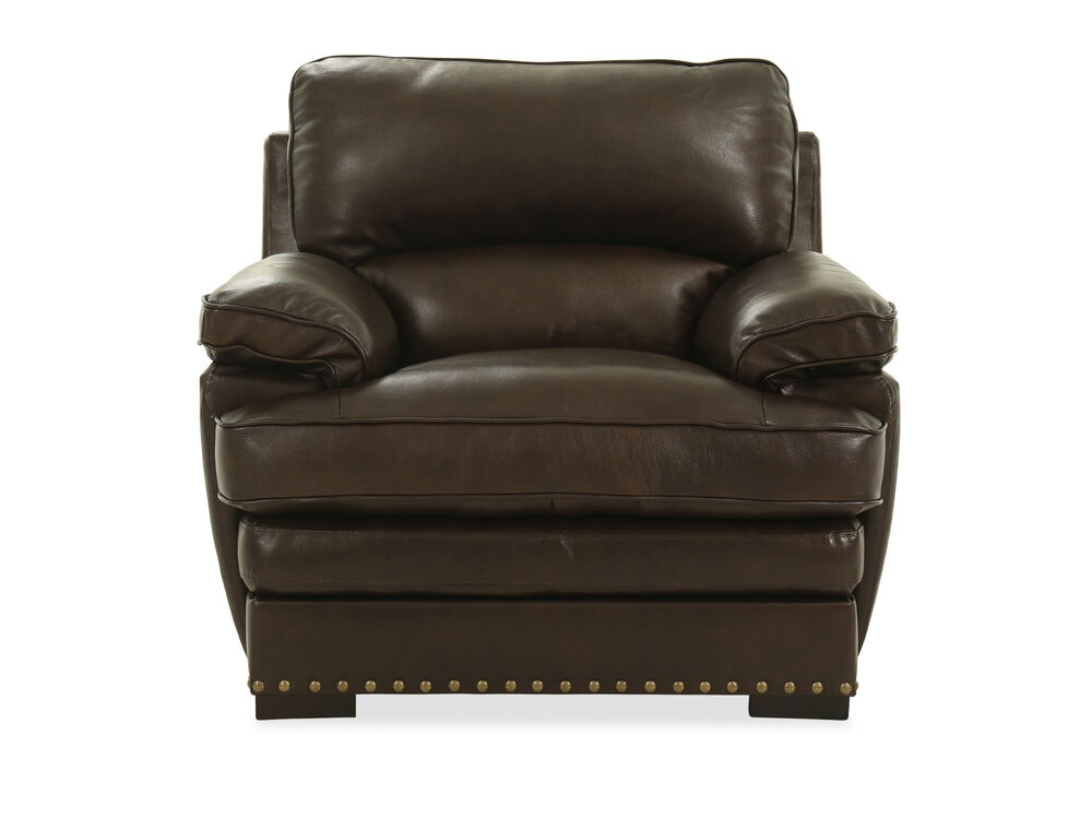 Nailhead Accented Leather Chair in Brown