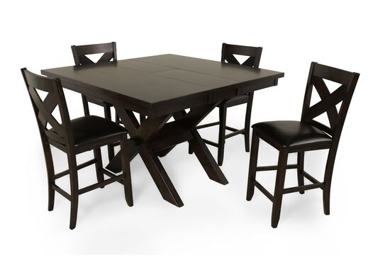 "Five-Piece Traditional 36"" Pub Set with Concealed Butterfly Leaf in Rich Brown"