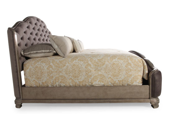 Contemporary Button Tufted Arched Panel Bed in Gray
