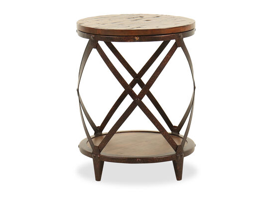 Distressed Round Transitional Accent Table in Rich Brown