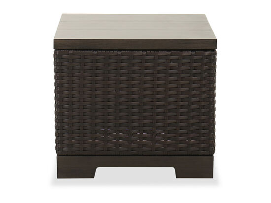 Contemporary Patio End Table in Brown