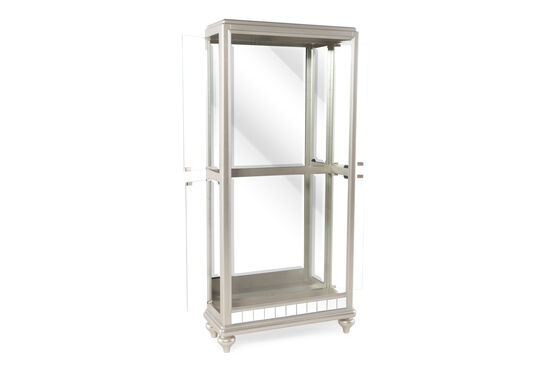 Transitional Side Entry Curio with Mirror-Inserted Base in White