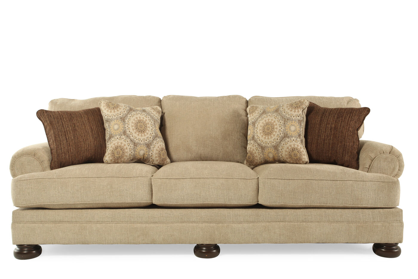 103 Quot Rolled Arm Sofa In Quarry Brown Mathis Brothers