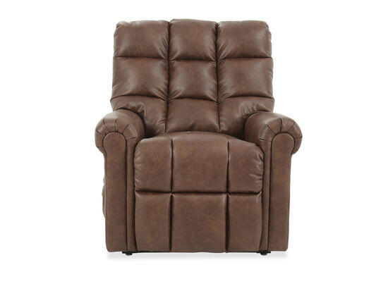 Tufted Leather Electric Lift Recliner in Brown