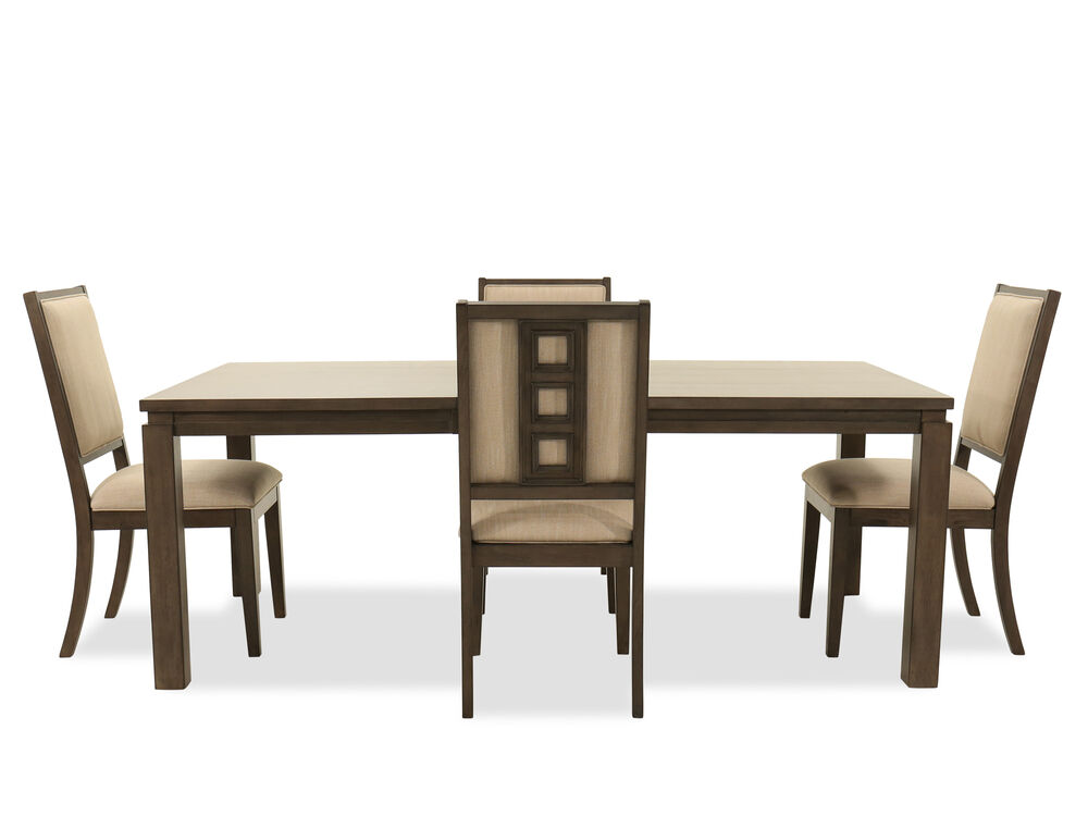 "Five-Piece Contemporary 82"" Dining Set in Dark Brown"
