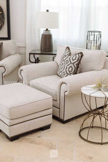 Nailhead-Accented Contemporary 33'' Ottoman in White
