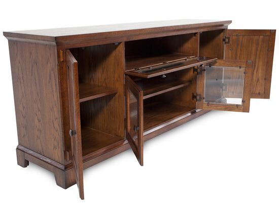 "32"" Glass-Door Media Console in Oak"