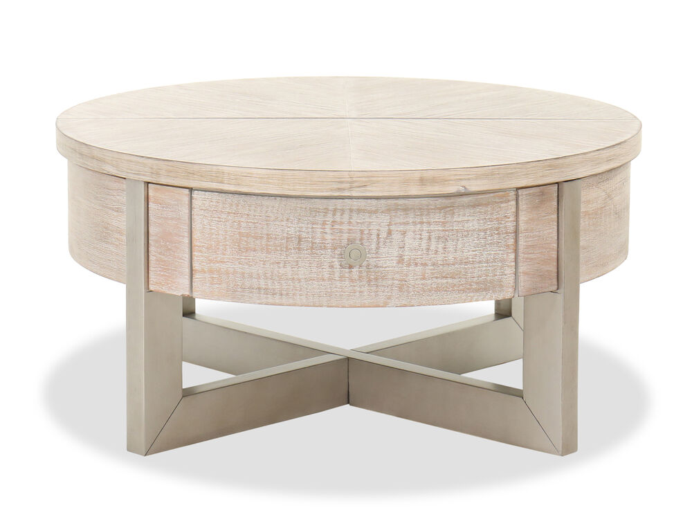 Contemporary Lift Top Cocktail Table in Whitewash
