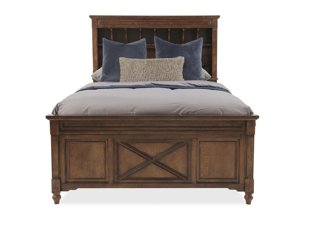 Traditional Paneled Youth Bookcase Bed in Dark Cherry