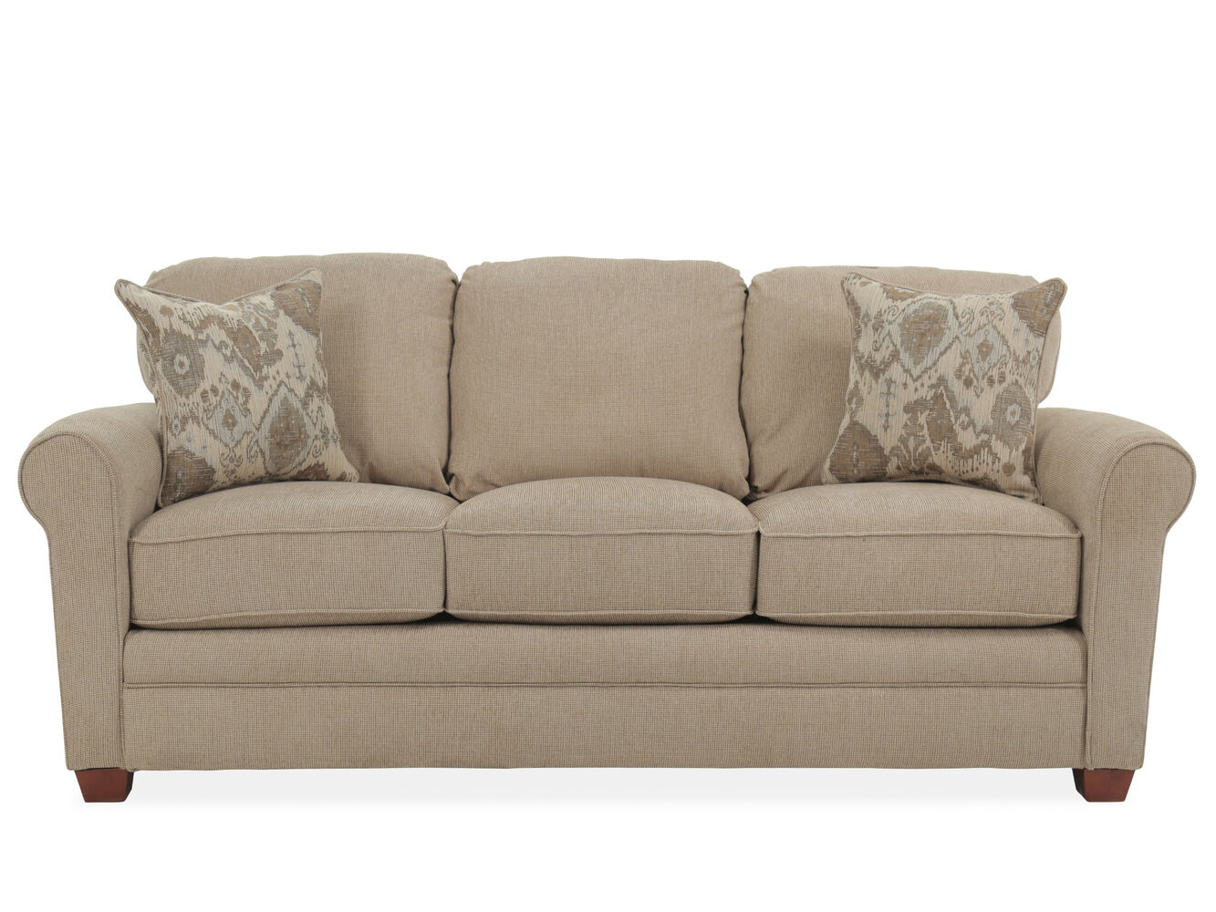 Roll arm transitional 84 queen sleeper sofa in sand for Sofa 84 inch