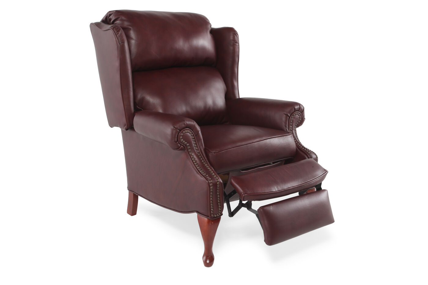 Nailhead accented 35 leather recliner in dark cherry for Furniture 66 long lane liverpool